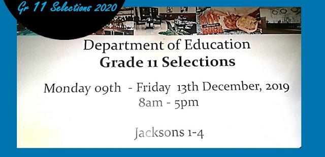 2020 Grade 11 selection