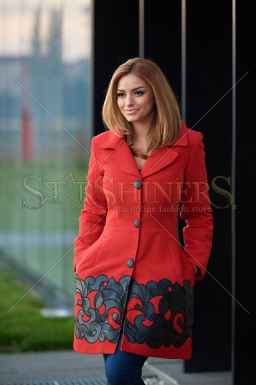 Palton Dama Rosu elegant