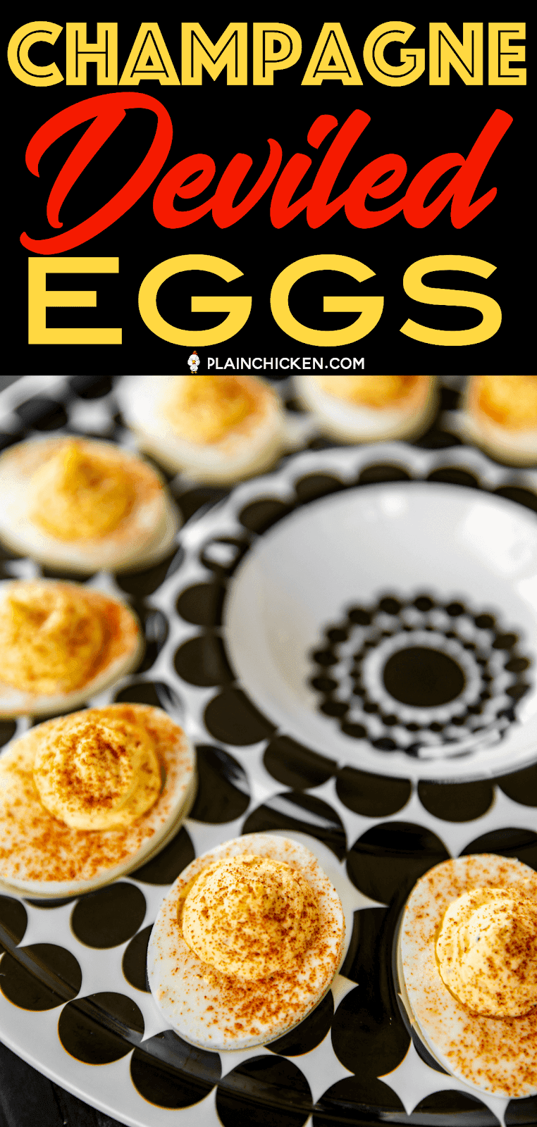 Champagne Deviled Eggs - seriously delicious!! Made these for a party and everyone raved about them!!! Can make ahead of time and refrigerate until ready to serve. Hard boiled eggs, mayonnaise, onion powder, champagne vinegar, salt, pepper, dry mustard. Perfect appetizer for parties and tailgating!! #deviledeggs #newyearsparty #partyfood #champagne