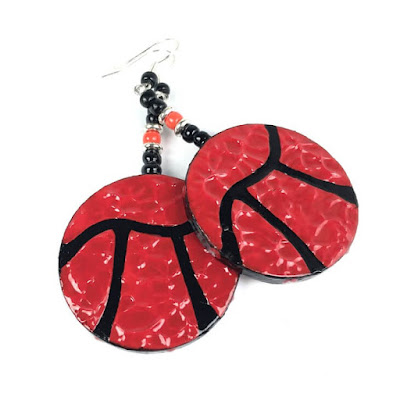 """Red for Ed"" pi earrings"