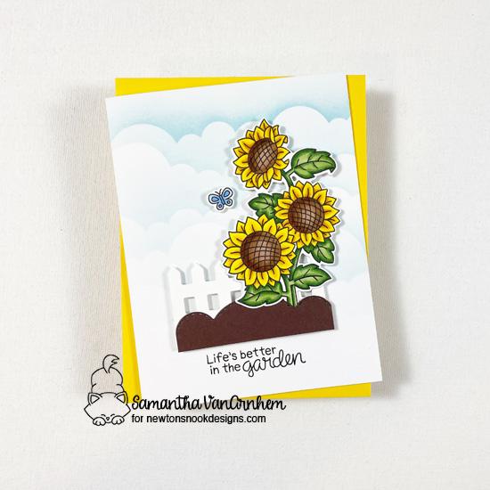 Sunflower Garden Card by Samantha VanArnhem   Sunflower Days and Gnome Garden Stamp Sets, Clouds Stencil, and die sets by Newton's Nook Designs #newtonsnook