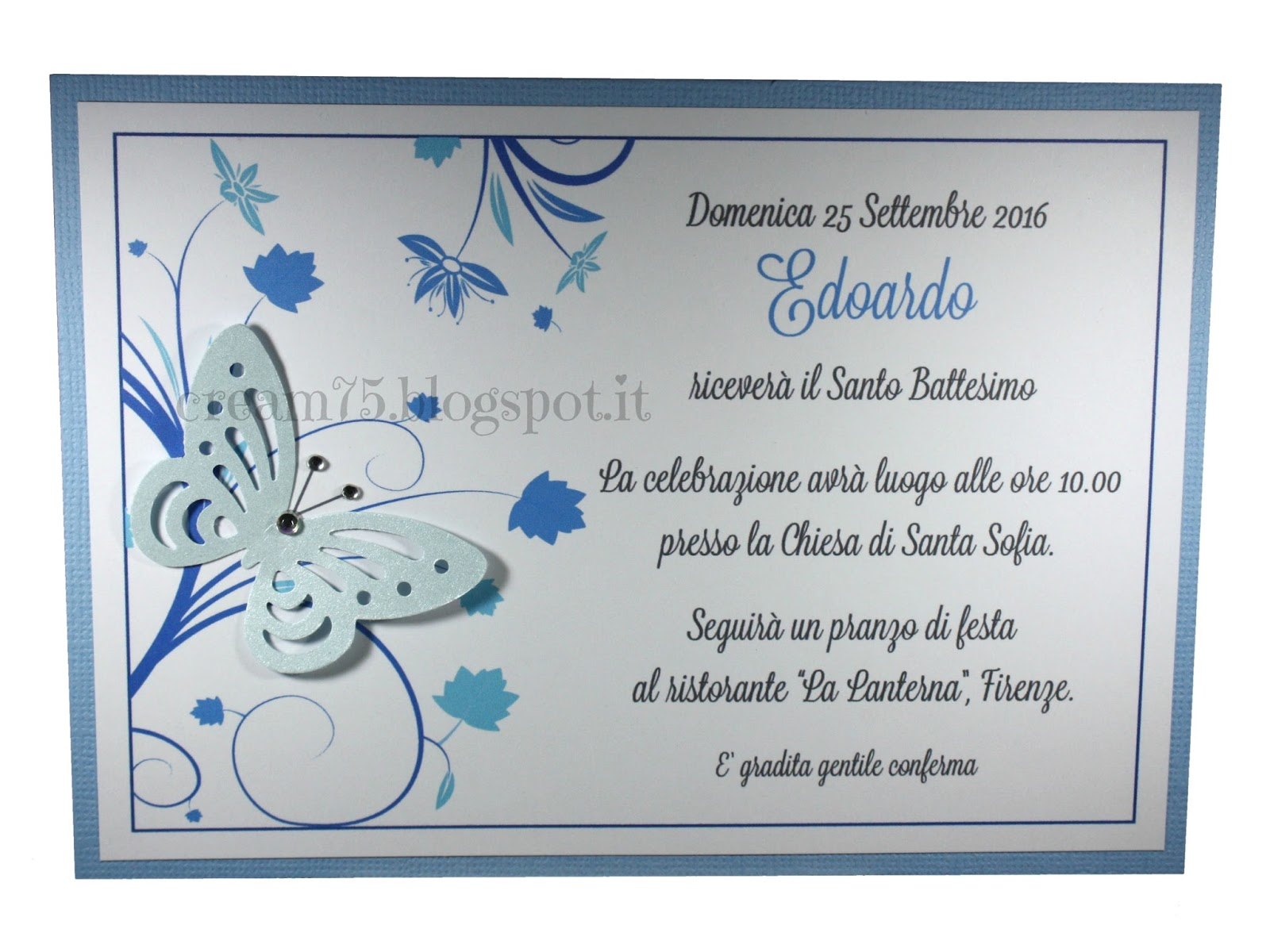 Favorito My Sweet Blog: Invito Battesimo con farfalla LE72