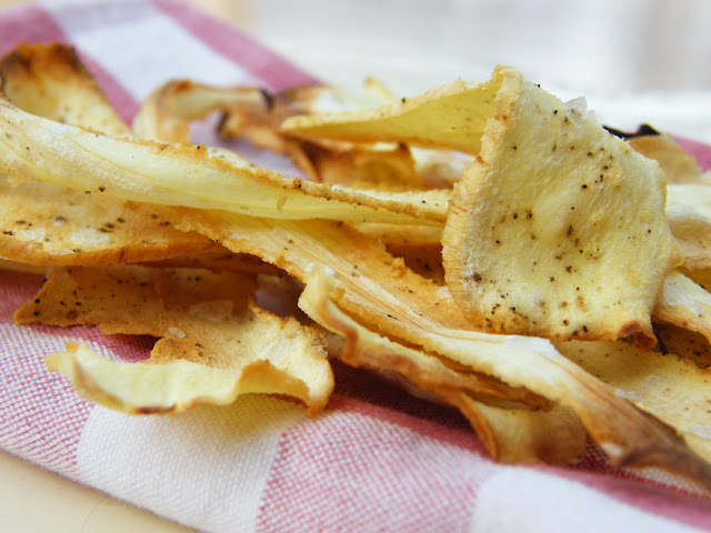 Close-up of parsnip crisps