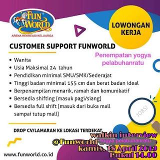 Lowongan Kerja Customer Support Fun World Yogya Pelabuhan Ratu