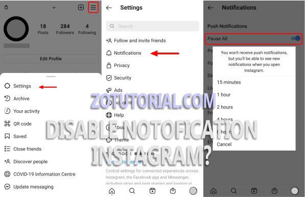3 Cara Mematikan Notifikasi Instagram dan apk lain - zotutorial.com