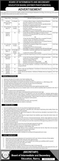 Board Of Intermediate and Secondary Education Jobs Male and Female Jobs 2020