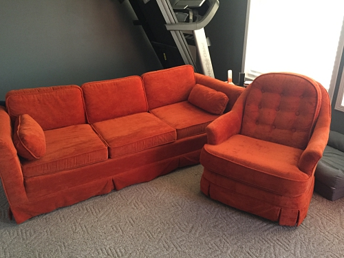 orange sofa and orange chair