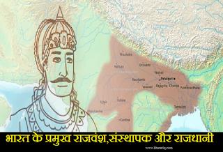 भारत के प्रमुख राजवंश,संस्थापक और राजधानी