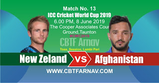 13th Match NZ vs Afg World Cup 2019 Today Match Prediction