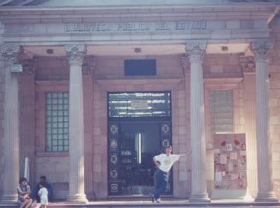 Greig Roselli stands in front of the Biblioteca Publico del Estado, Coahuila, Saltillo (circa 1998)