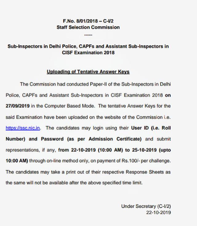 Inspectors in Delhi Police, CAPFs and Assistant Sub-Inspectors in  CISF Examination 2018