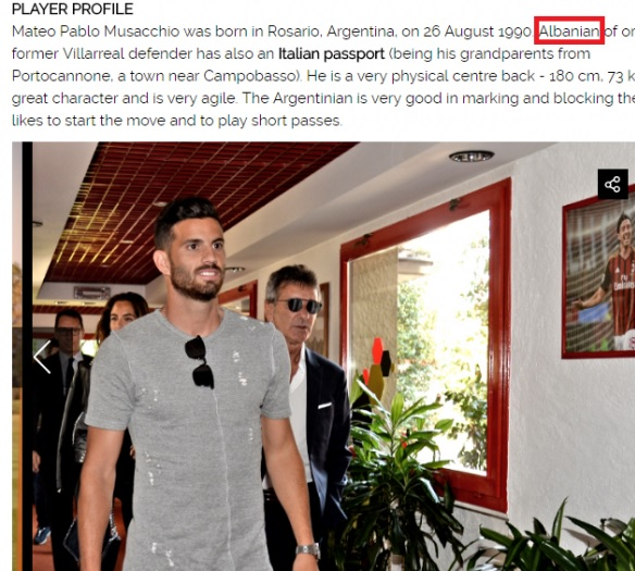 Milan's new defender Mateo Musacchio/Muzaka is of Albanian descent
