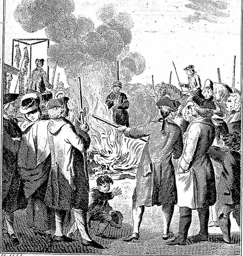 a traumatized boy at a public burning execution 1710?
