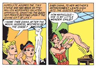 Wonder Woman (1942) #1 Page 8 Panels 2 & 3: Hippolyta forms Diana in clay and the goddess Aphrodite breathes life into the form.