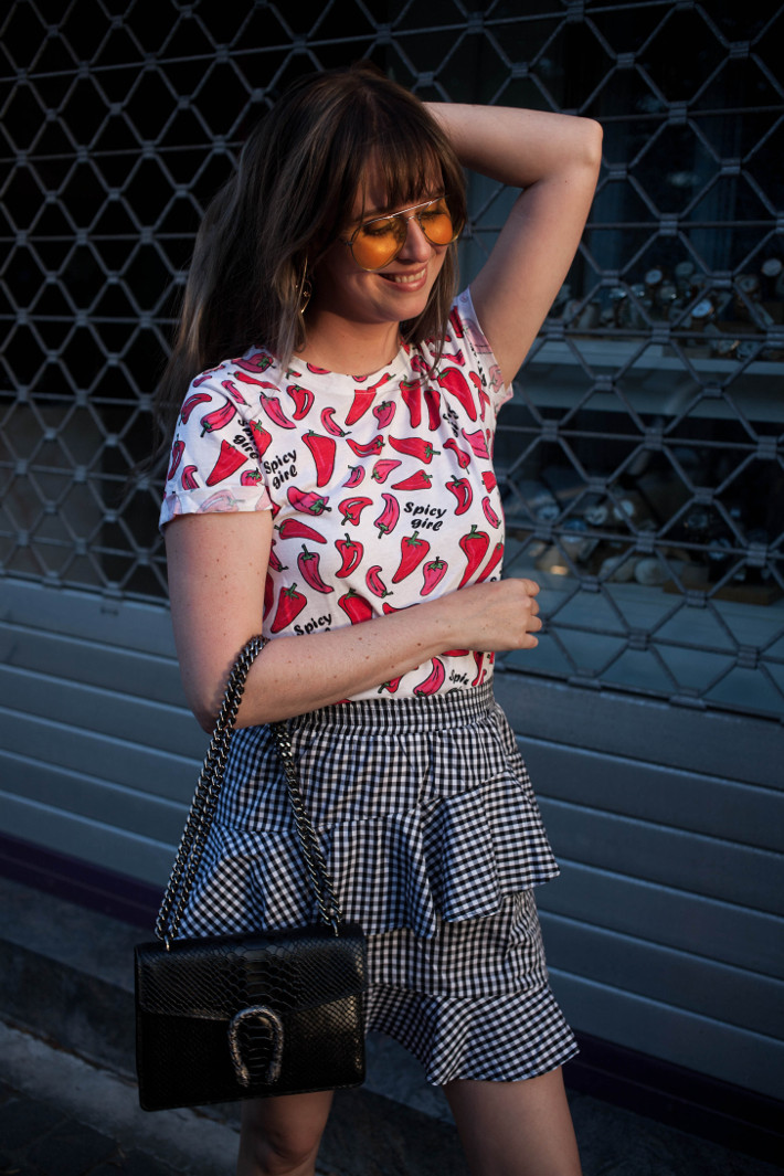 Outfit: chili pepper tee, gingham ruffle skirt