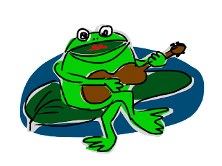 Green frog on lily pad singing and playing guitar