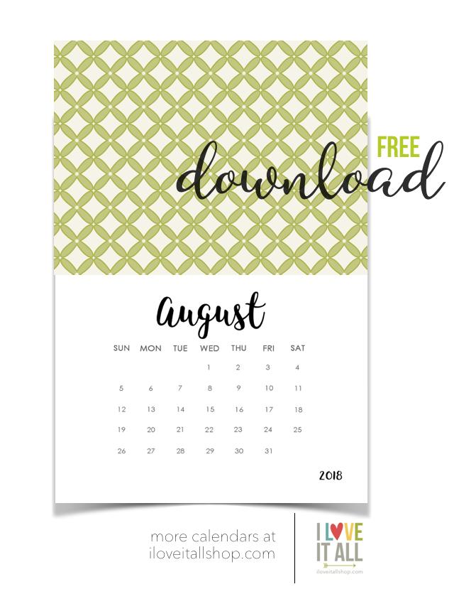 #free calendar #August calendar #printable calendar #free download #calendar download #calendar cutie