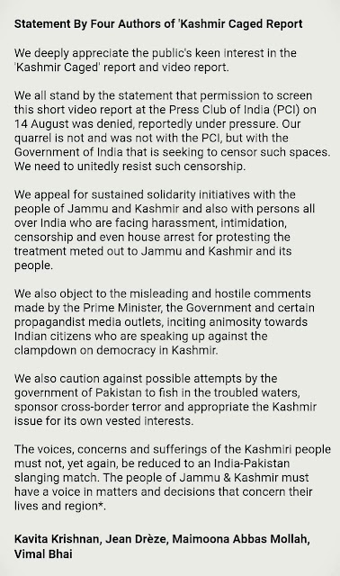 Statement By Four Authors of 'Kashmir Caged Report