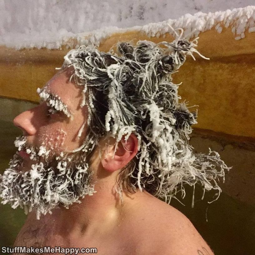 1. Every year competition for the craziest frosty hairstyle is held in the hot springs of Takhini.