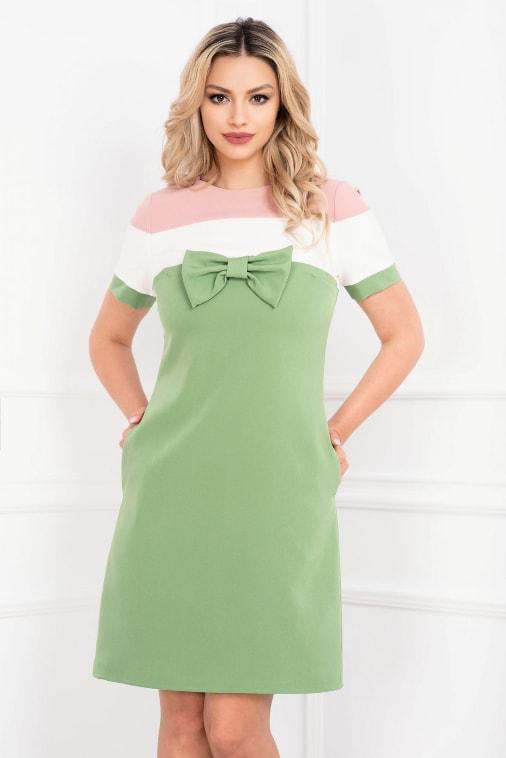 Rochie scurta de birou si de zi verde cu funda si dungi late