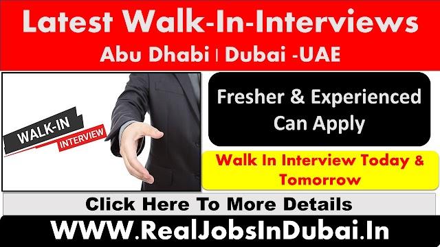 Walk-In-Interview In Abu Dhabi & Dubai - November 2020