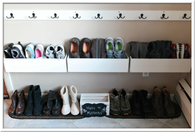 DIY Shoe Organizer Project After Photo   |  3 Garnets & 2 Sapphires