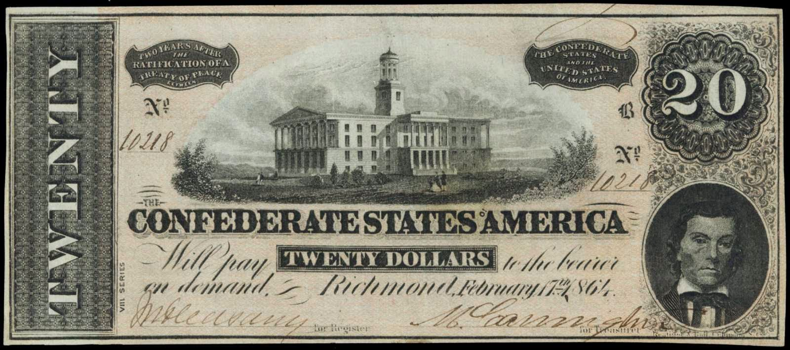 Confederate Currency 20 Dollar Bill Civil War Note 1864