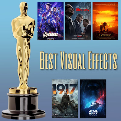 Avengers: Endgame, The Irishman, The Lion King, 1917, and Star Wars: The Rise of Skywalker are the Academy Awards nominees for Best Visual Effects
