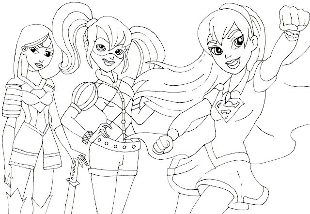 katana harley quinn and supergirl super hero high coloring page