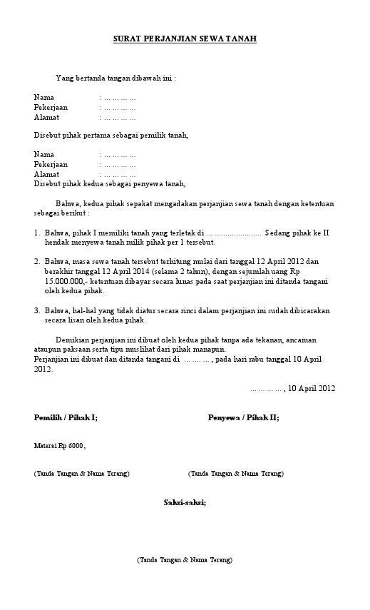 Contoh Surat Perjanjian Utang Piutang
