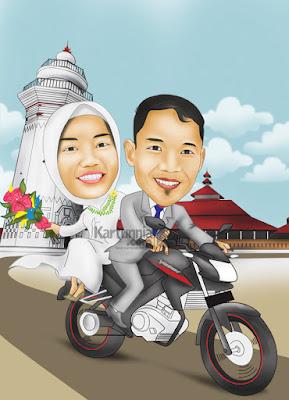 Karikatur Pernikahan Romantis Naik Motor Vixion