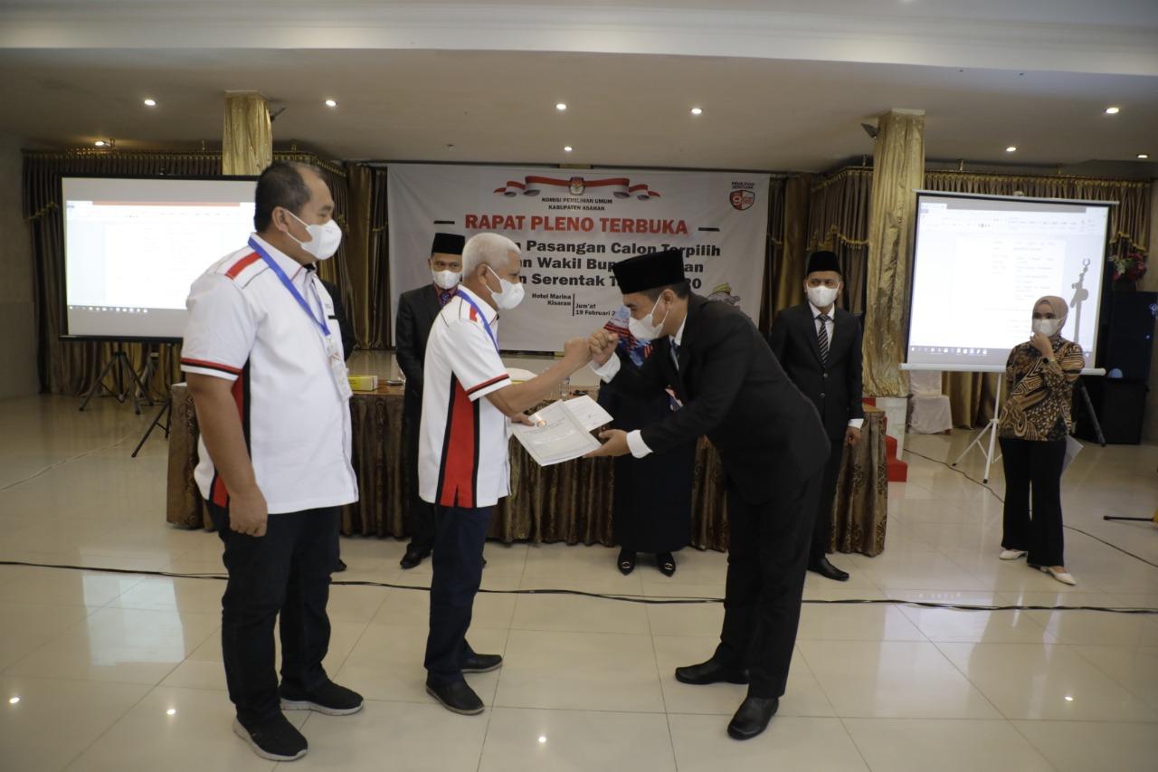 KPU Kabupaten Asahan Tetapkan Pasangan Surya  – Taufik Zainal Abidin Sebagai Bupati dan Wakil Bupati Terpilih Tahun 2020