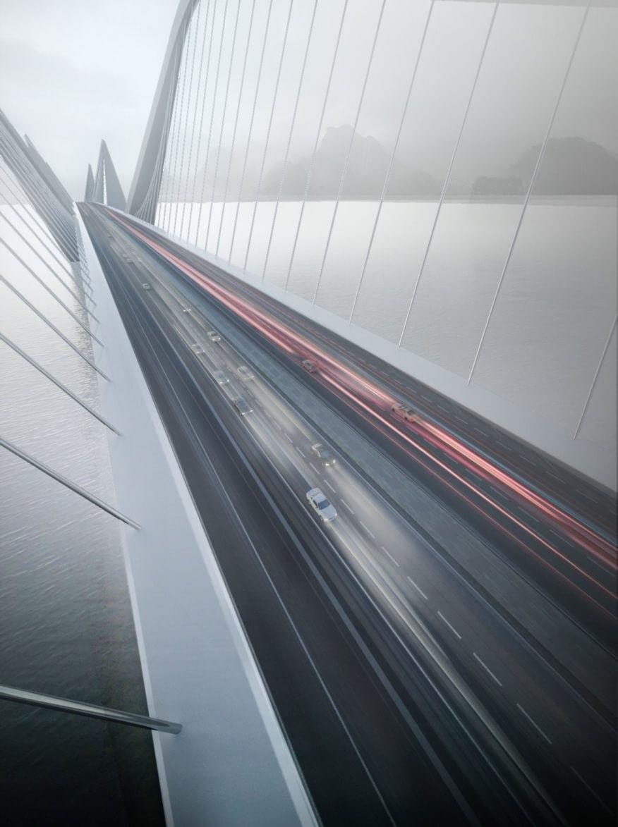 Cầu có chiều dài 3km, độ rộng 60m.