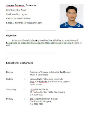 RESUME FOR OJT (im electronics student, im looking for OJT company )