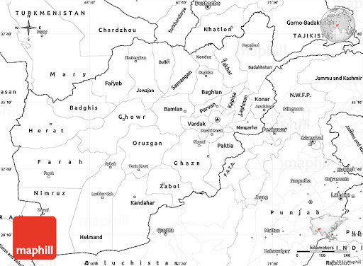 labeled Afghanistan map