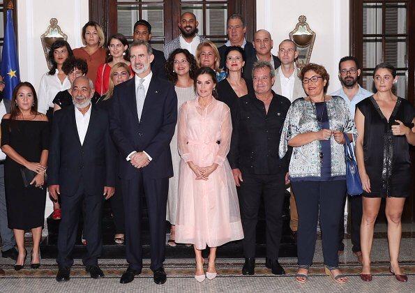 Queen Letizia wore a new semi-sheer organza midi dress by Maje. Maje Roane organza shirt dress. Steve Madden suede pumps