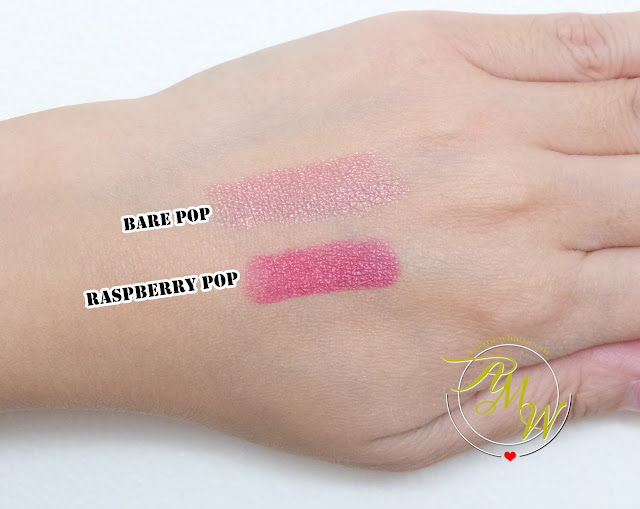 a swatch photo of Clinique POP Bare Pop and Raspberry Pop Review by Nikki Tiu of www.askmewhats.com