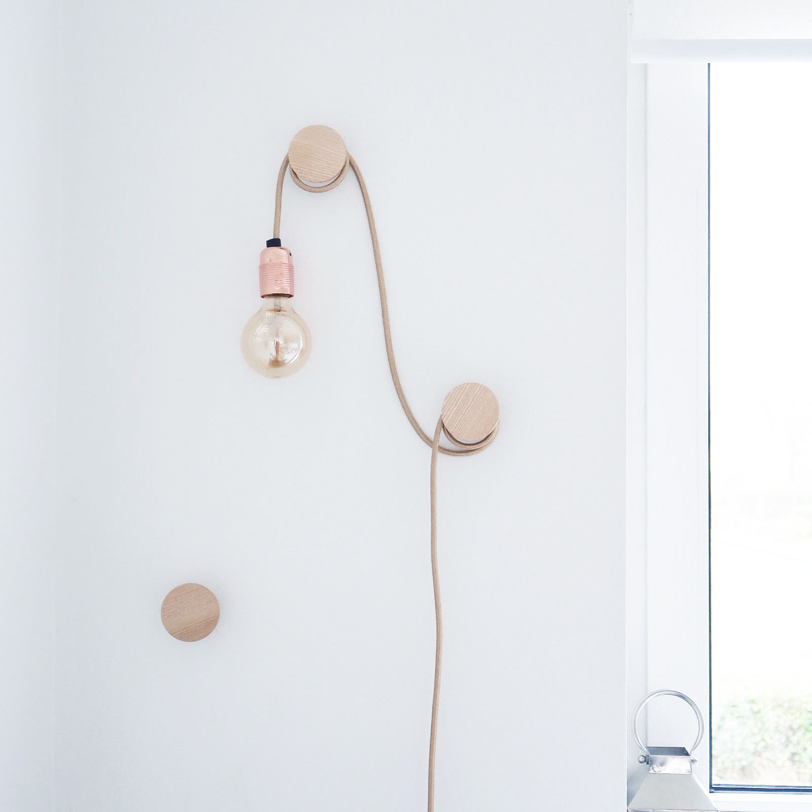 Maisy Meow Interiors Hanging Bare Bulb Feature Light over Wall Hooks DIY