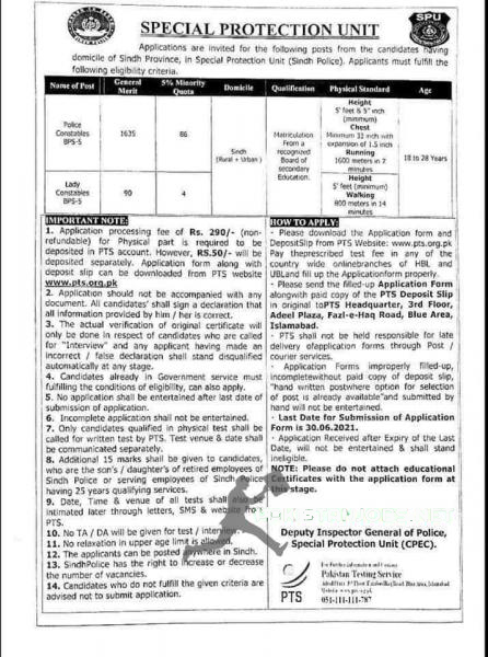 Special Protection Unit (SPU) Jobs 2021 Latest Advertisement