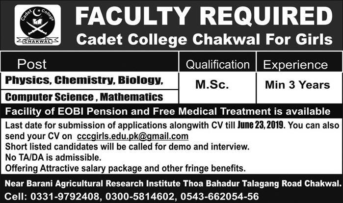Jobs in Cadet College Chakwal for Girls 09 June 2019