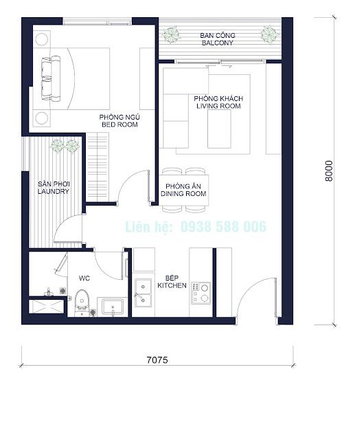 Mặt bằng căn hộ dự án Masteri Millennium 1 phòng ngủ quận 4.