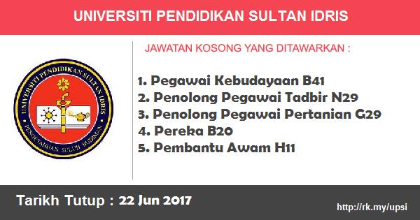 Jawatan Kosong di Universiti Pendidikan Sultan Idris (UPSI)