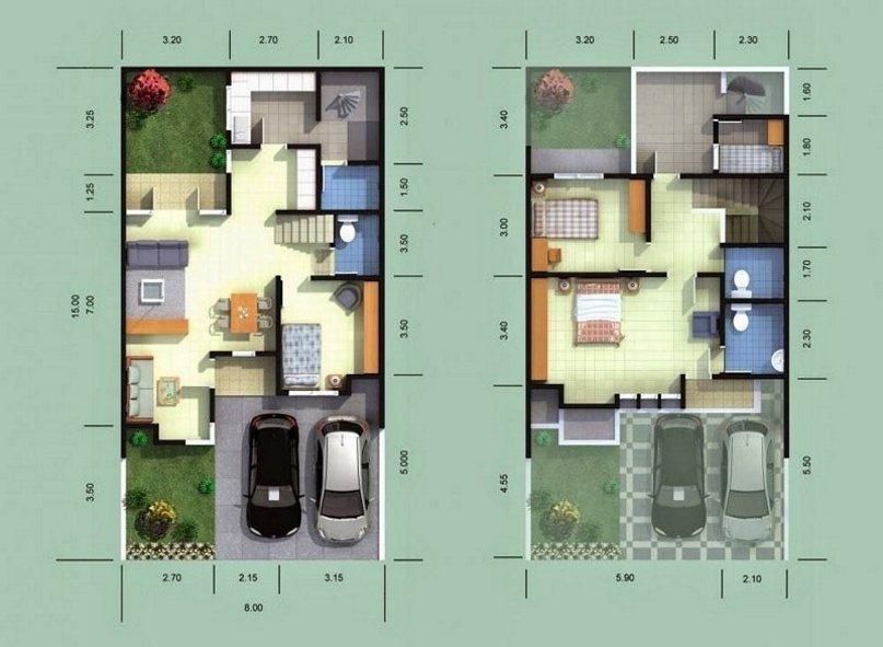 denah rumah 8x15 2 lantai yang bagus