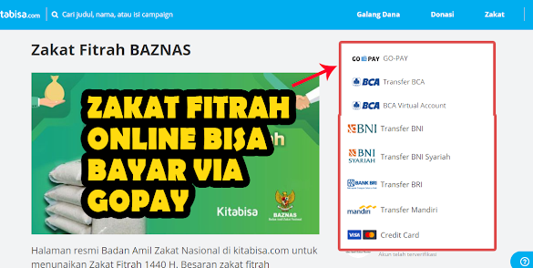 Cara Bayar Zakat Fitrah Online bisa Via Tranfer atau Gopay