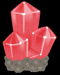 鉱石のイラスト(台座付き・赤)