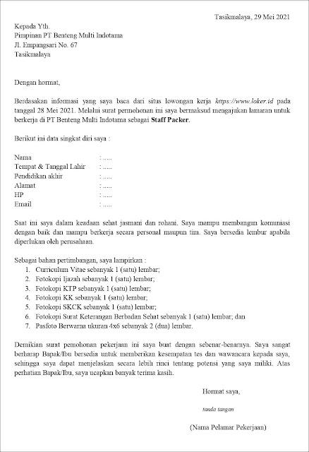Contoh Application Letter Untuk Staff Packer (Fresh Graduate) Berdasarkan Informasi Dari Website