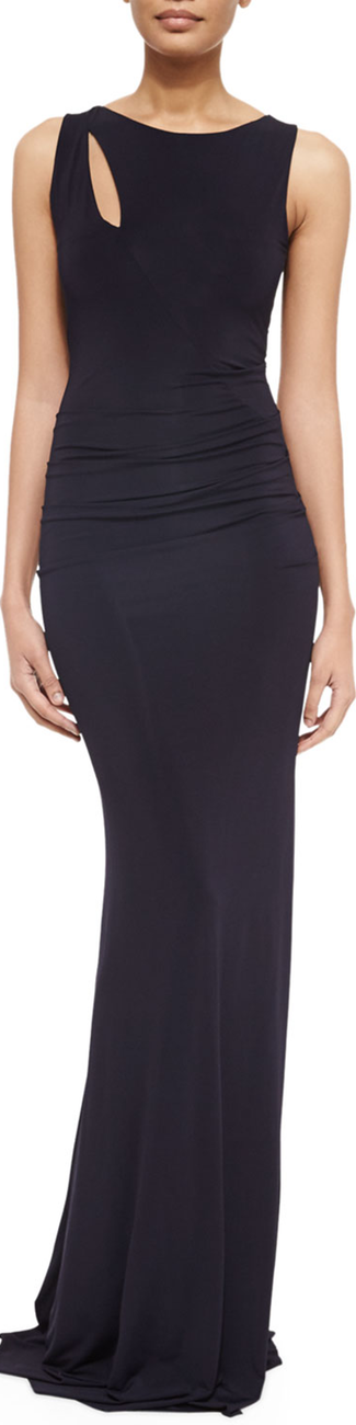 Donna Karan Slash-Detailed Jersey Gown