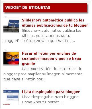 Publicar un Widget por etiquetas con imágenes en blogger