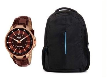 Combo Of Watch With Laptop Bag For Men