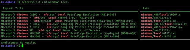 finding exploits in searchsploits